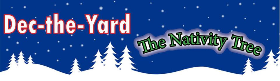 Dec-the-Yard logo header featuring the Nativity Tree outdoor nativity set